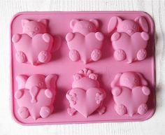 Jabón Molde 6-Bear Elefante Corazón Molde de Pastel de Silicona Del Molde Para El Caramelo de Chocolate