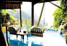 This is the one place that I want to go most of all. In St. Lucia, the pools are in the rooms. Someday.....