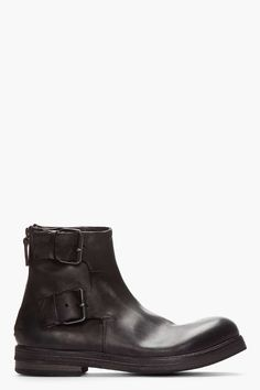 Marsèll Matte Black Leather Buckled Ankle Boots | military inspired menswear | mens boots | mens style | mens fasion | wantering