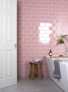 The Versatile Brick Tile & How To Use It | The traditional brick half and half layout. Just like the exterior walls to your house, these brick shapedtiles overlap by 1/2 their length and is the most common way to lay the brick/metro tile. #bathroomdecor #tiles #metrotiles #subwaytiles #pinktiles #pinkbathroom #pindecor #interiorinspo #bathroominspo #bathroomideas #interiordesign #homedecor #pinkdecor #interiortrends #hometrends #walltiles