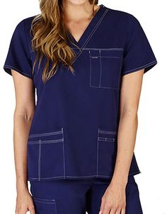 Look professional without compromising on comfort in Natural Uniform's comfort stretch junior fit contrast stitch v-neck scrub top. With its stylish accents, comfortable V neckline and spacious patch pockets – you are bound to get unmatched functionality. Scrub Tops, Scrubs, Contrast, Neckline, V Neck, Pockets, Stitch, Stylish, Natural