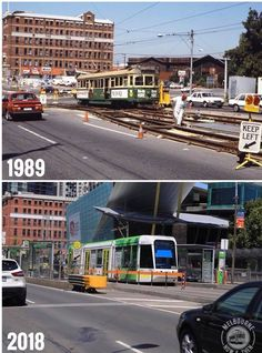 Clarendon St South Melbourne before and after construction of the Melbourne Exhibition Centre. Melbourne Tram, Places In Melbourne, Melbourne Australia, Melbourne Victoria, Victoria Australia, Then And Now Photos, Rail Transport, Heavy Machinery, World Images