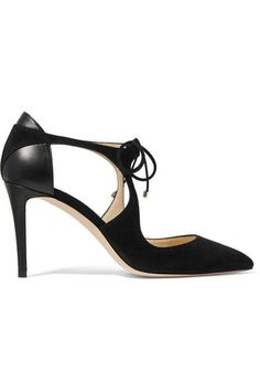 Jimmy Choo - Vanessa Cutout Suede And Leather Pumps - Black - IT38.5