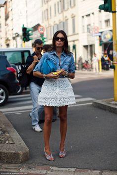 denim + fancy skirt