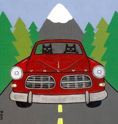Road Trip Volvo Original Cat Folk Art Painting by KilkennycatArt