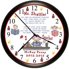 Teacher Gift Personalized With Names Appreciation Classroom Custom Wall Clock Gift From Student by Simply Southern Gift on Etsy,