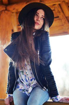 Floral blouse + Leather Jacket