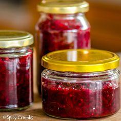Chutney zčervené řepy - Spicy Crumbs Home Canning, Beetroot, Pesto, Chutney, Preserves, Salsa, Mason Jars, Food And Drink, Cooking Recipes