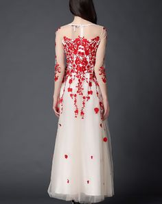 Red Embroidered Floral A-line Evening Dress