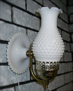 Milk glass hobnail fenton lamp vintage electric lamp milk glass vintage white hobnail milk glass hurricane electric wall lamp sconce cottage lighting aloadofball Gallery