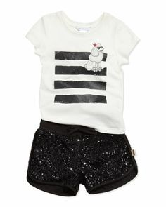 Little Marc Jacobs Poodle Printed Jersey Tee & Sequin Shorts, Sizes 2-5 - Neiman Marcus