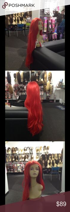 #Red #Wig adjustable Lacefront Cap HOT Red on fire super long Lacefront wig Accessories Hair Accessories
