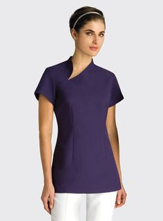 Mandarin Tunic with Spliced Neckline Dental Uniforms, Work Uniforms, Spa Uniform, Scrubs Uniform, Beauty Uniforms, Uniform Design, Asian Design, Medical Scrubs, Business Attire