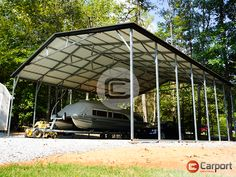 Place your order for this 30'W x 36'L boat/RV #carport with a deposit of just $1530; price as described before tax is $9000 (check with us about specific pricing in your area). We offer great #Financing, Rent-to-Own and #Layaway options too! Call (866) 311-0822 & mention ITEM: 303612MBC to connect with a friendly building specialist about #personalizing your own building! Rv Carports, Metal Carports, Boat Covers, Garden Equipment, Steel Structure, Metal Roof, Line Design, Lawn And Garden, Mother Nature