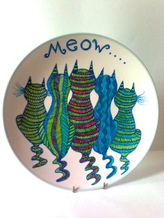 cat painted dinner plate - cats - hand painted plate-feline plate