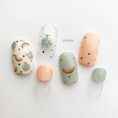 "ikue on Instagram: ""Melon 🍈 Hand painted original nail designs 💅 ・ *Gel @pregelofficial (264.304.830.L5.9.10.19) ・ ◯@ikue.nail ◯natural→@irotoiro.ikue…"" Korean Nail Art, Korean Nails, Simple Acrylic Nails, Simple Nails, Pastel Nails, Nail Swag, Asia Nails, Japan Nail, Nagel Bling"