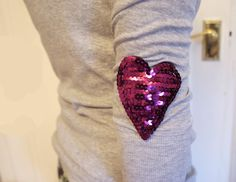 DIY: How To Make Sequin Heart Patches!  Great way to mend vintage clothes. Our next wardrobe project :)