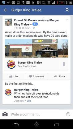 Burger King in Tralee gives no fucks at all