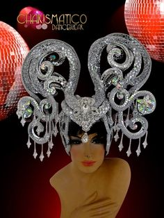 Charismatico Dancewear Store - CHARISMATICO exotic silver sequined Diva's showgirl's headdress with snake like patterning, $175.00 (http://www.charismatico-dancewear.com/charismatico-exotic-silver-sequined-divas-showgirls-headdress-with-snake-like-patterning/)