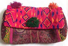 Vintage Banjara clutch gypsy tribal boho hippie multi Pink small sling bag purse
