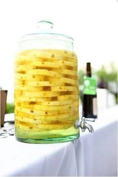 Pineapple Lemonade: 1 cup Countrytime Lemonade mix, 2 cups cold water, 1 can of chilled pineapple juice {46 oz}, 2 cans chilled Sprite ~ Mix together & add pineapple slices as shown in picture