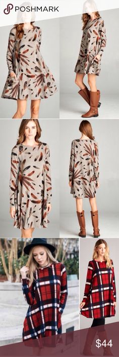 ❣️BACK IN❣️ Feather Print Fall Flowy Swing Dress Super cute fall dress! The feather print and coloring is perfect for this season! Sizes S (0-4) M (6-8) L (10-12) XL (12-14). Brand new! limited supply, grab before it's gone! This is for the FEATHER DRESS MOCHA, for the plaid dresses, find the listing in my closet! Dresses Long Sleeve