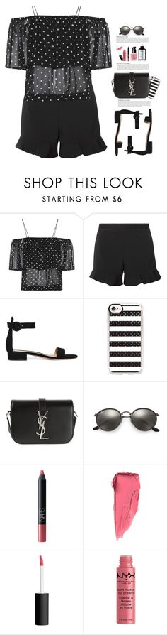 """I See Spots...Polka Dots"" by hollowpoint-smile ❤ liked on Polyvore featuring Ganni, RED Valentino, Gianvito Rossi, Casetify, Yves Saint Laurent, Ray-Ban, NARS Cosmetics, Anja and NYX"