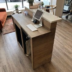 Modern Reception Desk, Reception Desk Design, Reception Counter, Salon Reception Desk, Clothing Store Interior, Boutique Interior, Boutique Design, Barber Shop Decor, Beauty Salon Decor