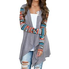 310d707a2997a Women patterned Geometric casual asymmetric Baggy Long Sleeve Tunic Tops  Cardigan Coat Grey Sizes S to XL: Amazon.co.uk: Clothing