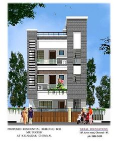 Small house front elevation home design in a designs 3 Storey House Design, Duplex House Design, House Front Design, Independent House, Building Elevation, House Elevation, 2bhk House Plan, Bungalow Haus Design, Narrow House Designs