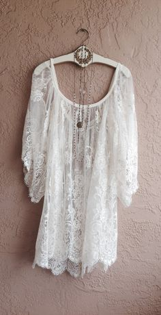 Gypsy wedding Sheer Embroidered White Lace Off shoulder Cape sleeve romantic dress