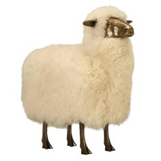 Lalanne Style Sheep, in Solid Bronze with a Light Patina and Real Sheep Fur