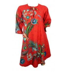 46c29700d56 Tunique longue rouge imprimés colorés yokaso.fr Tunique Femme Originale