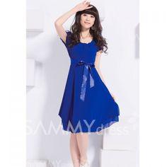 Fashionable Scoop Neck High Waist Short Sleeves Large Hem Multicolor Chiffon Dress For Women