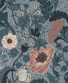 Anemone Wallpaper from the Apelviken Collection by Midbec Wallpapers is a dark floral wallpaper with orange flowers and green and blue leaves. Vintage Style Wallpaper, Blue Floral Wallpaper, Star Wallpaper, Embossed Wallpaper, Print Wallpaper, Flower Wallpaper, Liberty Wallpaper, Floral Wallpapers, Wallpaper Designs