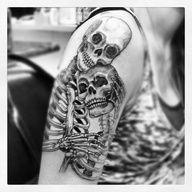 Couple tattoos, tattoo designs, skull tattoo design, tattoo ideas, in Skeleton Couple Tattoo, Skeleton Love, Skeleton Tattoos, Zombie Tattoos, Cat Skeleton, Tatoo 3d, Sick Tattoo, Tattoo Ink, Arm Tattoo