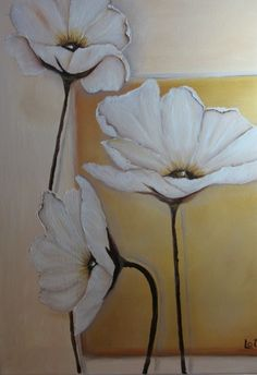 """gosunshinegold:  """"White Poppies"""" original oil on canvass by Lucille Otto"""