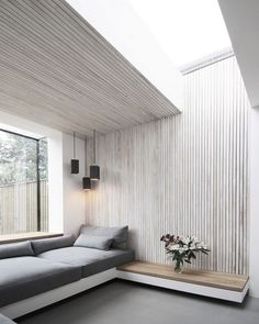 Studio 1 Architects has added a brick extension with a large window to the rear of this Victorian house in London, creating a light-filled seating area clad in white-washed ash slats. Living Room Modern, Living Spaces, Kitchen Interior Inspiration, Kitchen Lighting Over Table, Contemporary Windows, Interior Windows, Built In Seating, Banquette, Commercial Interior Design