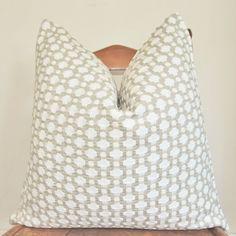 Pillow Cover,Decorative Pillow,Throw Pillow,Toss Pillow,Accent Pillow,Sofa Pillow,Celerie Kemble,Schumacher Betwixt,18x18 inch,Stone White