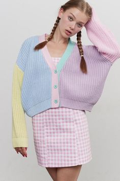 Lazy Oaf Pastel Panel Cardigan (Size S/M) The clothing culture is quite old. Possibly the oldest and uninterrupted cultural behavior … Pastel Fashion, Kawaii Fashion, Cute Fashion, Look Fashion, Fashion Outfits, Plaid Fashion, Kawaii Clothes, Diy Clothes, Pastel Clothes
