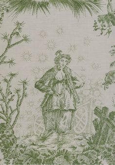 Chinese Toile Fabrics from our Toile de Jouy & Damask range LOTUS GREEN