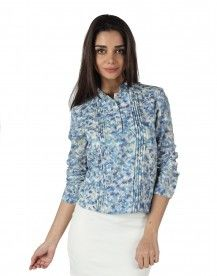 MOJO Cotton Blouson Top IN BLUE WATERCOLOR PRINT  Rs. 1,499