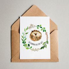 Postkarten und Grußkarten Greeting card for birth Lettering Design, Hand Lettering, Birth Congratulations, Baby Hedgehog, Karten Diy, Scrapbook Designs, Baby Scrapbook, Watercolor Cards, Illustrations