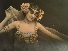 Art nouveau lady artiste postcard by smokey lace, via Flickr