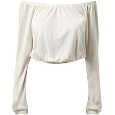 Cream Long Sleeve Cropped Gypsy Top found on Polyvore featuring polyvore, fashion, clothing, tops, shirts, crop tops, crop, off white, cropped long sleeve shirt and long sleeve crop top