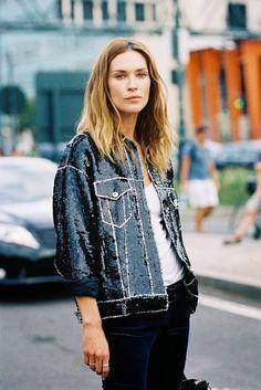 #NYFW Erin Wasson. Denim style sequin jacket. Street Style at New York Fashion Week, RTW Spring 2014. Photo: Vanessa Jackman http://vanessajackman.blogspot.com/2013/10/new-york-fashion-week-ss-2014erin.html