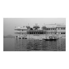 Lake Palace Udaipur Poster. Lake Palace Udaipur, India. This medieval palace rises from Lake Pichola in Rajasthan. Original black and white landscape travel photography by Tammy Winand.