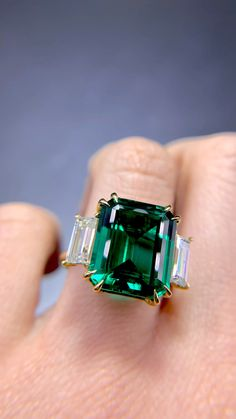 Green And Gold Chatham Lab-Grown Emerald Cut Green Emerald on a modified Yellow GolYou can find Emerald rings and more on our website.Green And Gold Chatham Lab-Grown Emerald Cut Green Emerald on a modified Yellow. Green Emerald Ring, Emerald Cut Rings, Emerald Jewelry, Diamond Jewelry, Gold Jewelry, Emerald Stone, Jewellery, Vintage Engagement Rings, Emerald Cut Engagement
