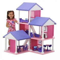 #ShoppingOnlineDeals #DanAnnStore #dollhouses #barbiestyle Size Mansion w Furniture Girls Playhouse Doll Pretend Play Toy #Branded #MansionModern