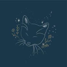 Digital illustration of my new kitten in line art style with floral elements. Get in touch today for a custom quotation of digital illustration for your project.  #lineart #minimalillustration #adobeillustrator #mykitty